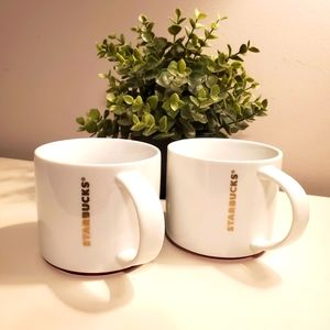 2 Starbucks mugs, 16oz, gold letters, red trim